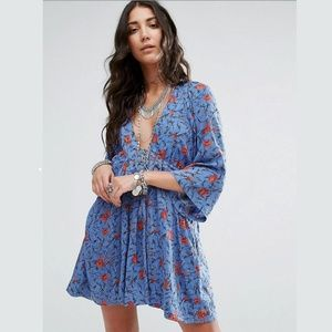 Free People Tallula Blue Floral Boho Mini Dress